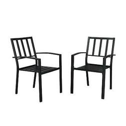 2 PCS Metal Patio Chair Stackable Bistro Deck Dining Chairs