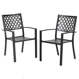 PHI VILLA 2 Piece Metal Steel Patio Dining Chairs with Arm R