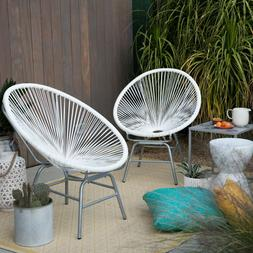 2 Piece Resin Wicker White Patio Sun Chairs Set Outdoor Home