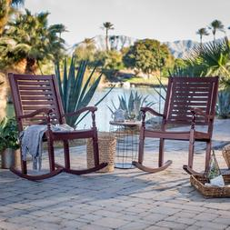 2 Piece Slat Back Wood Patio Rocking Chair Set Outdoor Home