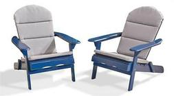 Adirondack Chairs with Cushions in Navy Blue - Set of 2