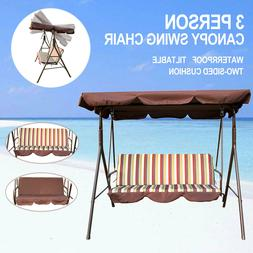 3-Person Canopy Swing Chair Patio Backyard Awning Yard Porch