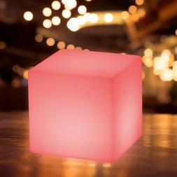 "16"" Cube LED Color Light Stool Outdoor Indoor Patio Party Ya"