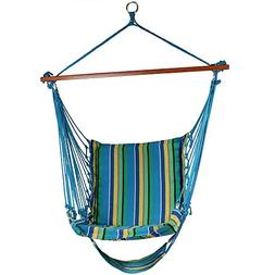 Sunnydaze Hanging Soft Cushioned Hammock Chair with Footrest