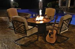 5-Piece Harmony Cast Aluminum Patio Chair and Gas Fire Pit O