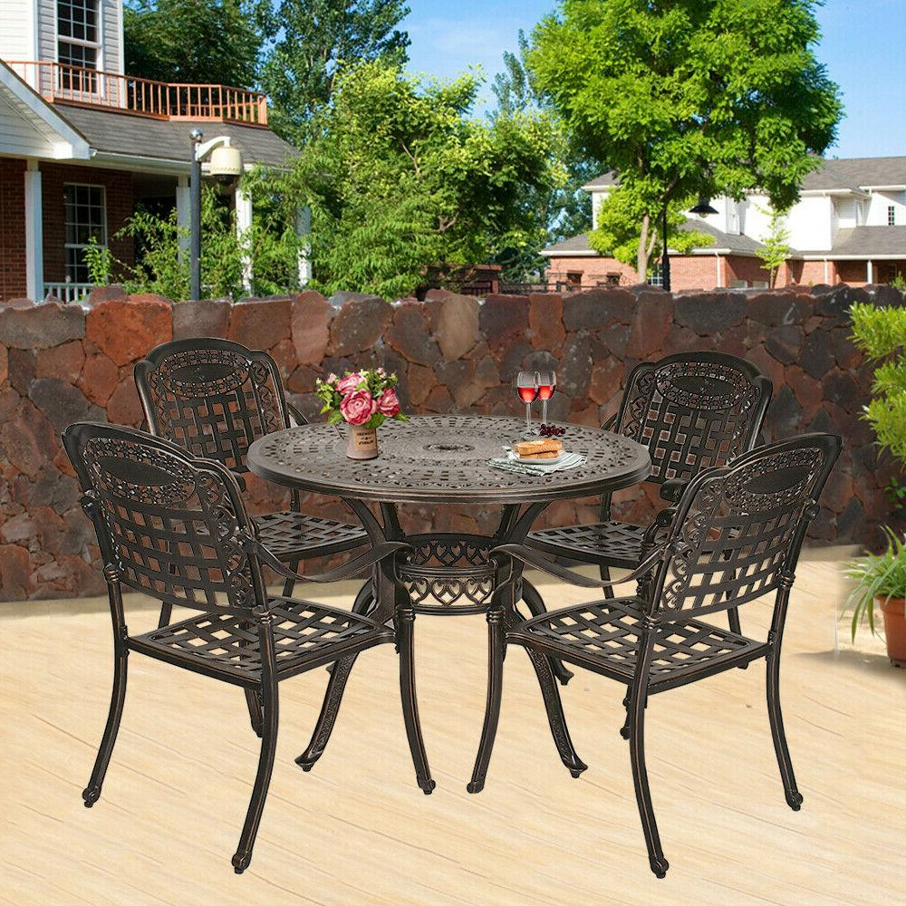 5-Piece Cast Patio Dining Set Set Table Chairs