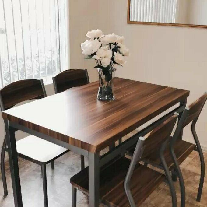 5 Dining Kitchen Breakfast Table Chairs Room Modern