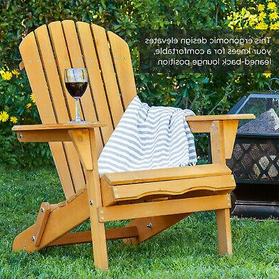 Foldable Wooden Chair Outdoor Patio Lounge Seat Deck New