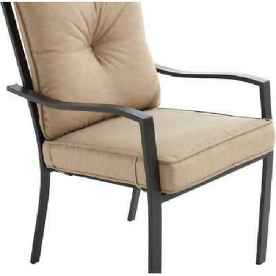 Forest Outdoor Dining Cushioned 5 Tan Chairs Table