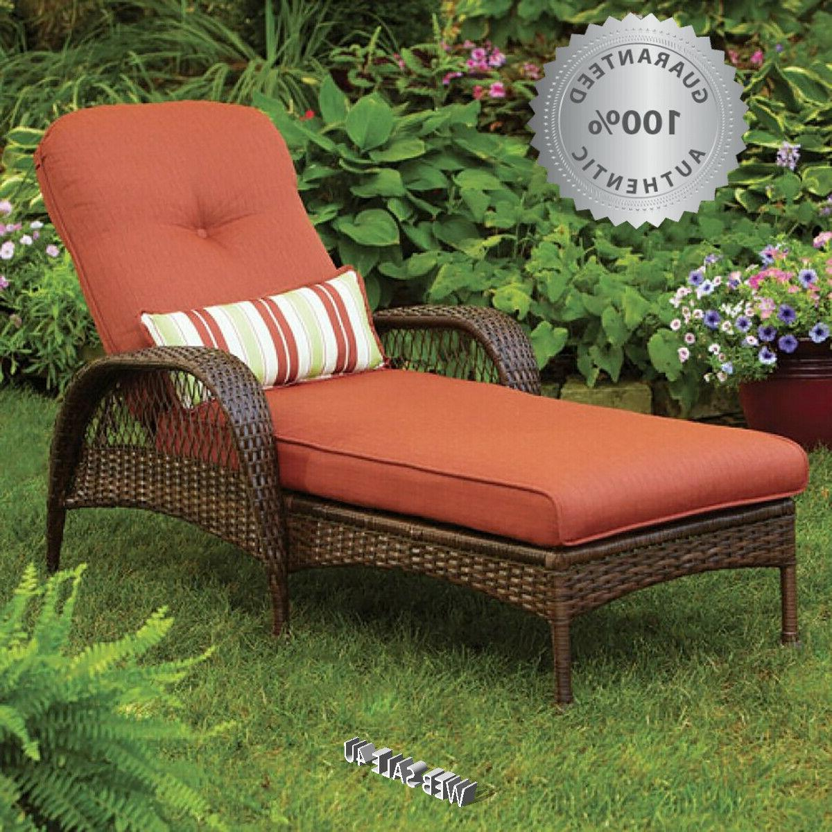 Outdoor Recliner Chaise Lounge Cushion Deluxe Patio Wicker F