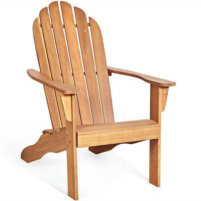 Outdoor Solid Wood Durable Patio Adirondack Chair-Natural