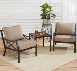 Metal 3-PC Patio Chat Set with Cushions 2 Armchairs Coffee T