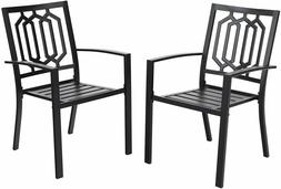 Metal Patio Chair Set of 2 Bistro Deck Outdoor Dining Chairs