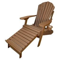 New Deluxe Wood Grain Outer Banks Poly Adirondack Chair w/ I