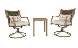 Outdoor Patio Bistro Set Side Table 2 Comfy Swivel Chairs w