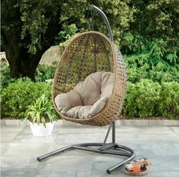 Outdoor Wicker Hanging Egg Chair w Stand Beige Cushion Patio
