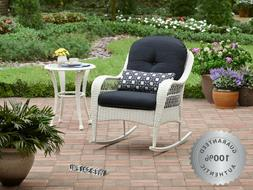 Outdoor Wicker Rocking Chair Deluxe White Patio Furniture Cu