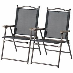 Set of 2 Patio Folding Sling Back Chairs Camping Deck Garden