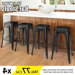 Set of 4 Metal Bar Stools Counter Industrial Farmhouse Stack