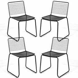 Set of 4 Metal Dining Chair Armless Stackable Slat Seat Pati