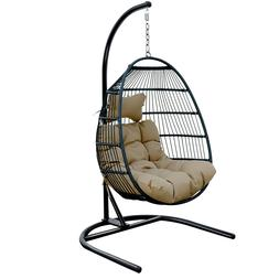 Swing Hanging Egg Wicker Chair Hammock W/ Stand Foldable Out