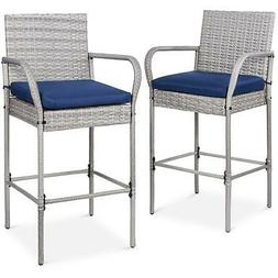 Wicker Bar Stools Long Armrest With Footrest Patio Furniture