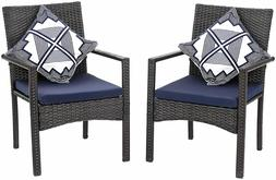 Wicker Patio Chairs Set of 2 Removable Cushion Outdoor Chair